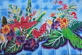 TOP QUALITY Hawaiian Florals Flowers Handpainted Rayon SARONG Pareo Cove... - $33.65