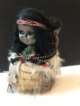 Vtg Native American Indian Eskimo Doll Papoose Baby Plastic Straw - $29.65