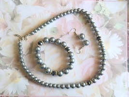 Gray and Black 3 Piece Beaded Necklace Set, Bracelet, Earring Set, 18in ... - $35.00