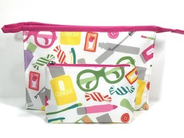 2pc Clinique Cosmetic Makeup Bag Bottles & Brush Design (yellow,green,pink,red) - $6.75