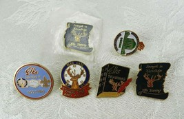 Set of 6 BPOE Elks Lapel Pins Scouting Training Drug Free Veterans Memorial - $14.84