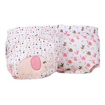 Lovely Pink Elephant Baby Elastic Cloth Diaper Cover (M, 9-11KG)
