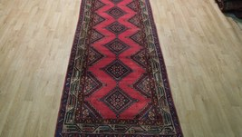 Pink Hamadan Persian Wool Handmade Rug 3x9 All-Over Geometric Rug image 9