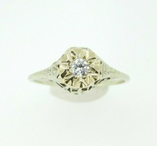 Art Deco 14k White Gold Genuine Natural Diamond Filigree Ring .13ct (#J809) - $395.00