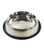 2 X LARGE STAINLESS STEEL RUBBER NONE TIP FOOD WATER DOG PET BOWL - $26.15