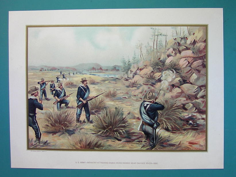 US ARMY in 1880 Attacking Snake River Indians Owyhee River - COLOR Litho Print