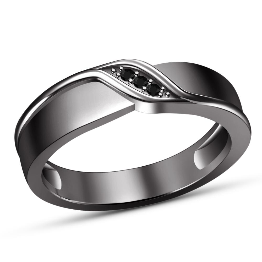 Trio Set Engagement Ring Wedding Band Round Diamond Black Gold Finish 925 Silver