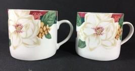 Set of 2 Tienshan Magnolia Fine China White Ros... - $16.81