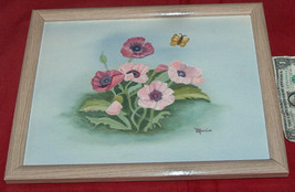 """FLORAL 15"""" X 12"""" CANVAS PAINTING ART MARIO WOOD FRAMED by FREDRIX Free Ship USA - $18.38"""