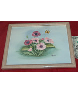"""FLORAL 15"""" X 12"""" CANVAS PAINTING ART MARIO WOOD FRAMED by FREDRIX Free S... - $18.38"""