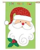 "Christmas SANTA Flag ~ 28"" x 44"", 3D Design - Pile Fabric Beard, Red Gli... - $19.94"