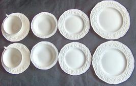10 Piece Crown Ducal England White Florentine Salad Desert Plate Bowl Cu... - $73.60