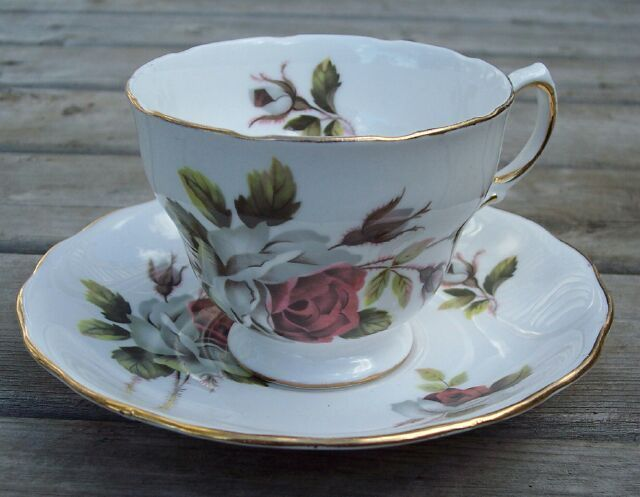 Primary image for Royal Vale Cabbage Rose Tea Cup & Saucer Set Mint