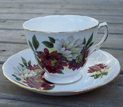 Royal Vale Dahlia Tea Cup & Saucer Set Mint - $20.00