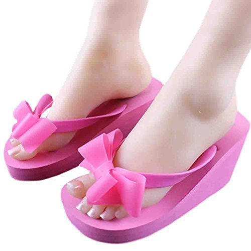 A Pair Bowknot Flip-flops Leisure Slippers Prevent Slippery Slipper(Rose red)
