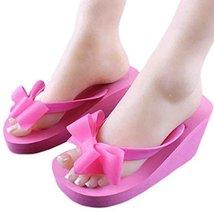 A Pair Bowknot Flip-flops Leisure Slippers Prevent Slippery Slipper(Rose red)
