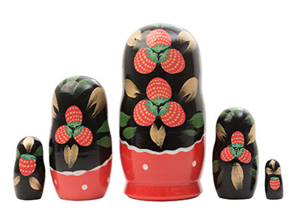"Khokhloma Nesting Doll - 4"" w/ 5 Pieces"