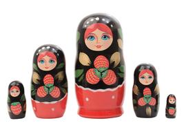 "Khokhloma Nesting Doll - 4"" w/ 5 Pieces - $19.00"