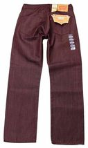 Levi's 501 Men's Shrink To Fit Straight Leg Jeans Button Fly Red 501-1577 image 3
