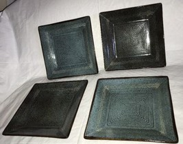 "Oneida ADRIATIC-BLUE 8"" Square Salad Plate 8887960 Set of 4 Heavy Ribbed... - $29.99"