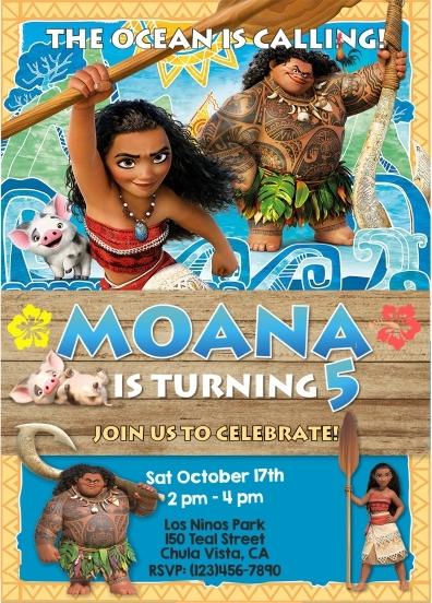 Moana Digital Invitation Maui Pua Birthday and 50 similar items