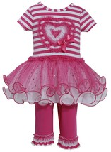 Little Girl 2T-6X Stripe Knit To Sparkle Tutu Heart Applique Dress/Legging Set