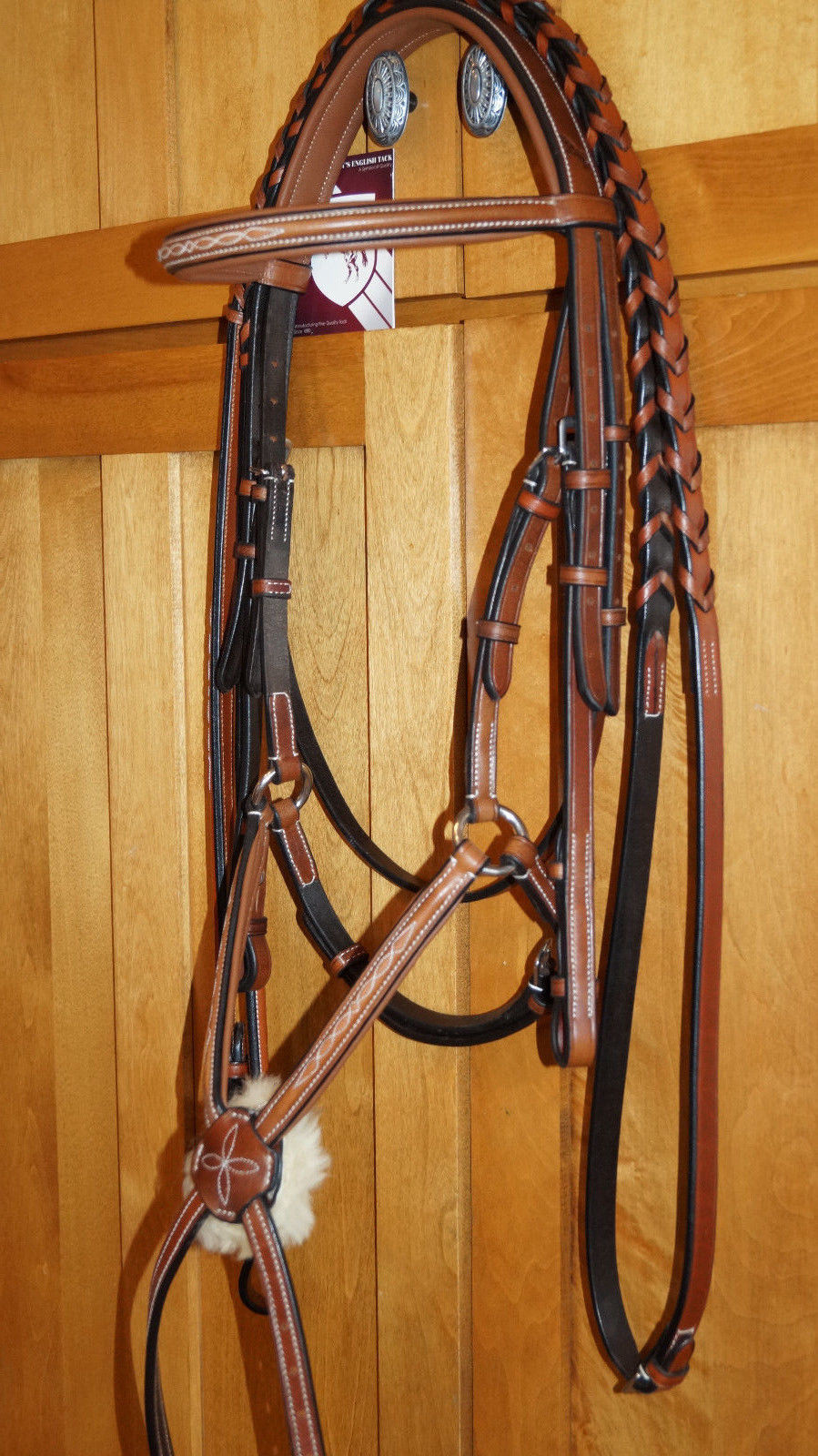 Bobby's FULL Sz Padded MonoCrown Lt Brown/Chestnut Fancy Stitch Fig 8 Bridle