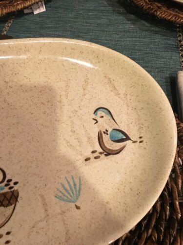 "RED WING POTTERY BOB WHITE Blue Quail Bird Lg 14"" oval serving tray Platter #130 image 2"
