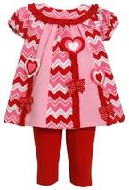 Baby Girl 3M-24M Heart Chevron Stripe Mix Print Colorblock Tunic Legging Set