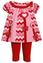 Little Girl 2T-6X Heart Chevron Stripe Mix Print Colorblock Tunic Legging Set