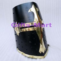 Medieval Knight Crusader Armour HELMET-WITH-BLACK & Brass Design Helmet - $139.00
