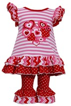 Little Girl 2T-6X Ruffley Stripes And Polka Dot Heart Applique Tunic Legging Set