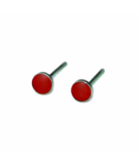 True Red 3mm Stud Earrings with Sterling Silver Posts and Backs, Tiny Red Stud  - €11,32 EUR