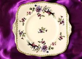 RARE! Vintage Paragon China Platter - Purple Bird of Paradise & Purple Flowers
