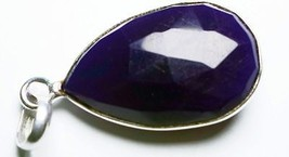 22.75CtsBlue ChalcedonyPear17x25mmSterling Silver Fashion Jewelry Pendant - $9.49