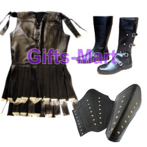 Roman Viking Gambeson Subramail Leather Look+Armor Arm Guard+Medieval Shoes - $179.99