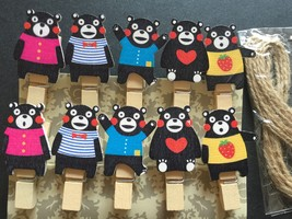 10pcs Bear Wooden Clips,Clothespin,Children's Birthday Party Favor Decorations - $0.90