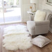 Genuine real White Tibetan Mongolian Sheepskin lambskin FUR Area Floor Rug 35x67 - $495.00