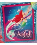 Disney Princess Ariel Micro Fleece Blanket Little Mermaid Hand Tied Teal... - $74.95