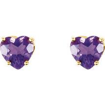 14K Yellow Gold or 14K White Gold Amethyst Heart Earrings - $169.99 - $174.99