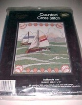 """Golden Bee Sailboats Counted Cross Stitch Kit 8"""" x 10"""" Frame Included 1990 New - $9.89"""