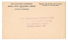 War Manpower Commission 1945 Official Business Penalty Card Employer Ref... - $4.99