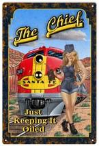 The Chief Santa Fe Railroad Pin Up Girl Sign - $25.74