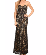 Lace Strapless Corset Mermaid Hemline Formal Gown in Black and Champagne... - $149.00