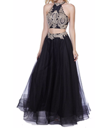 Stunning Embroidery Art Deco Goddess Gown 2 Piece Prom Formal Gown In Black - $198.00