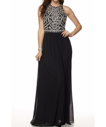 Great Gatsby Inspired Art Deco Formal Maxi Dress Beaded Halter Bodice in... - $239.00