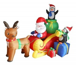 Christmas Inflatable Yard Decoration w/ Santa Claus Sleigh Reindeer Peng... - ₨8,427.21 INR