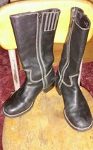 "Bass Black Leather Side Zip Tall Boots Womens Size 6.5M ""Rita"" Block Heel - $56.09"