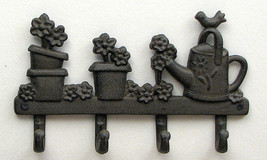 CAST IRON Flower and Watering Can 4 Hook Hanger for the Wall - $17.81