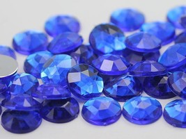 20mm Blue Sapphire H104 Flat Back Round Acrylic Gems - 20 Pieces - $5.11
